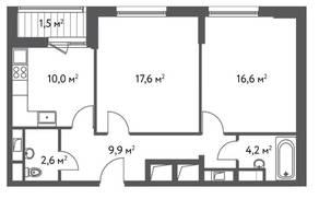 ЖК «Счастье в Царицыно», планировка 2-комнатной квартиры, 62.40 м²