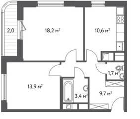 ЖК «Счастье в Царицыно», планировка 2-комнатной квартиры, 59.50 м²