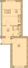 МЖК «Решетниково», планировка 1-комнатной квартиры, 40.40 м²