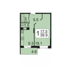 ЖК «Лермонтова, 10», планировка 1-комнатной квартиры, 39.90 м²