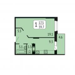 ЖК «Лермонтова, 10», планировка 1-комнатной квартиры, 39.70 м²