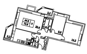 ЖК «Две столицы», планировка 3-комнатной квартиры, 72.70 м²