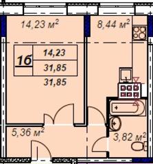МЖК «Лыткино», планировка 1-комнатной квартиры, 31.85 м²