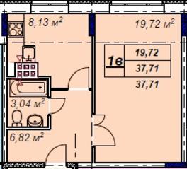 МЖК «Лыткино», планировка 1-комнатной квартиры, 37.71 м²
