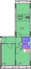 МЖК «Лыткино», планировка 2-комнатной квартиры, 41.80 м²