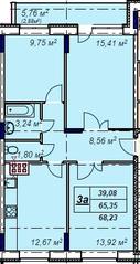 МЖК «Лыткино», планировка 3-комнатной квартиры, 68.23 м²