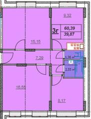 МЖК «Лыткино», планировка 3-комнатной квартиры, 60.39 м²