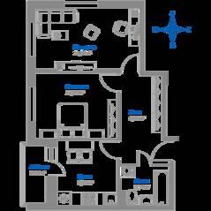 ЖК «Томилино 2018», планировка 2-комнатной квартиры, 50.36 м²