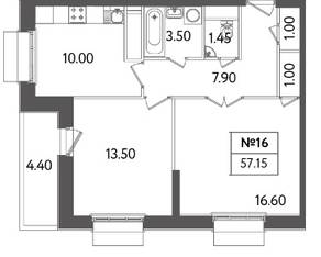 ЖК «Счастье в Тушино», планировка 2-комнатной квартиры, 57.15 м²