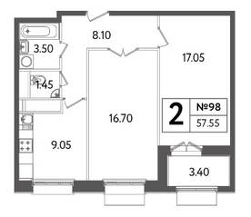ЖК «Счастье в Тушино», планировка 2-комнатной квартиры, 57.55 м²
