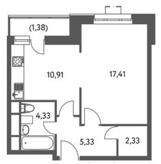 ЖК «Счастье на Волгоградке», планировка 1-комнатной квартиры, 41.69 м²