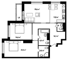 ЖК «Счастье на Ленинском», планировка 3-комнатной квартиры, 97.90 м²