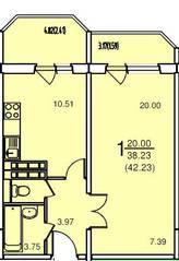 ЖК «на улице Текстильщиков», планировка 1-комнатной квартиры, 42.23 м²