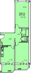 ЖК «на улице Текстильщиков», планировка 2-комнатной квартиры, 61.76 м²