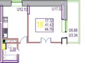 ЖК «на улице Гагарина, 19, 63», планировка 1-комнатной квартиры, 44.76 м²