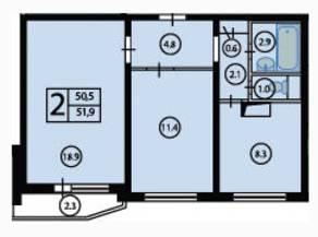 ЖК «Орехово. Дом у парка», планировка 2-комнатной квартиры, 50.50 м²