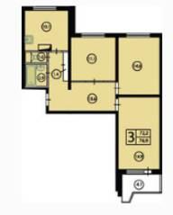 ЖК «Орехово. Дом у парка», планировка 3-комнатной квартиры, 72.20 м²