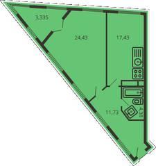 ЖК «Дом на улице Коминтерна», планировка 1-комнатной квартиры, 60.13 м²