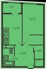ЖК «Дом на улице Коминтерна», планировка 1-комнатной квартиры, 51.95 м²