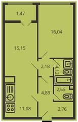 ЖК «Дом на улице Коминтерна», планировка 2-комнатной квартиры, 59.16 м²