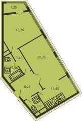 ЖК «Дом на улице Коминтерна», планировка 2-комнатной квартиры, 68.05 м²