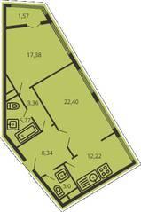 ЖК «Дом на улице Коминтерна», планировка 2-комнатной квартиры, 72.36 м²