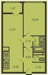ЖК «Дом на улице Коминтерна», планировка 2-комнатной квартиры, 57.98 м²