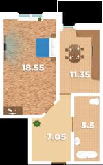 ЖК «Родионово», планировка 1-комнатной квартиры, 44.00 м²