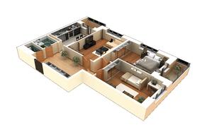 ЖК «Родионово», планировка 3-комнатной квартиры, 90.80 м²