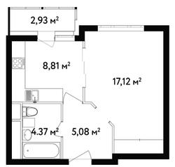 ЖК «Счастье в Вешняках», планировка 1-комнатной квартиры, 36.85 м²
