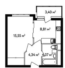 ЖК «Счастье в Вешняках», планировка 1-комнатной квартиры, 34.80 м²