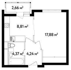 ЖК «Счастье в Вешняках», планировка 1-комнатной квартиры, 36.70 м²