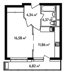 ЖК «Счастье в Вешняках», планировка 1-комнатной квартиры, 39.43 м²