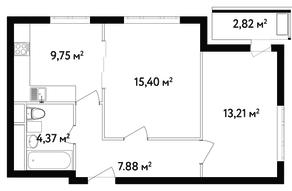 ЖК «Счастье в Вешняках», планировка 2-комнатной квартиры, 52.10 м²