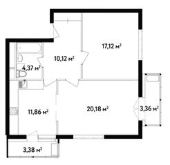 ЖК «Счастье в Вешняках», планировка 2-комнатной квартиры, 67.10 м²