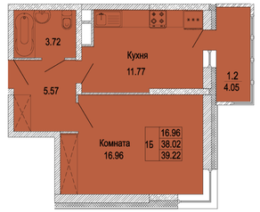ЖК «Правда-4», планировка 1-комнатной квартиры, 39.22 м²