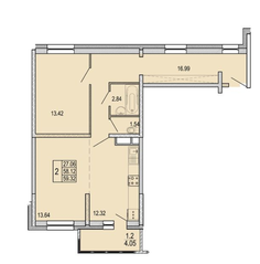 ЖК «Правда-4», планировка 2-комнатной квартиры, 59.32 м²