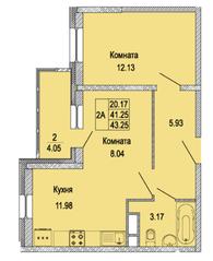 ЖК «Правда-4», планировка 2-комнатной квартиры, 43.25 м²