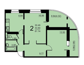 ЖК «Европейский» (Егорьевск), планировка 2-комнатной квартиры, 61.14 м²
