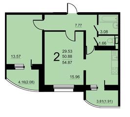 ЖК «Европейский» (Егорьевск), планировка 2-комнатной квартиры, 54.87 м²