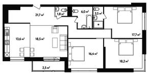 ЖК «Счастье на Ленинском», планировка 4-комнатной квартиры, 119.90 м²