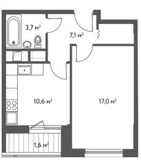 ЖК «Счастье в Царицыно», планировка 1-комнатной квартиры, 40.00 м²