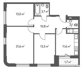 ЖК «Счастье в Царицыно», планировка 3-комнатной квартиры, 78.00 м²