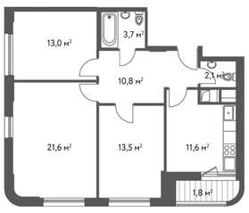 ЖК «Счастье в Царицыно», планировка 3-комнатной квартиры, 78.10 м²