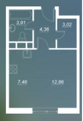 ЖК «Люблинский», планировка студии, 31.61 м²