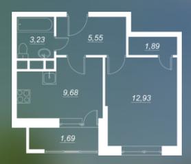 ЖК «Люблинский», планировка 1-комнатной квартиры, 33.28 м²