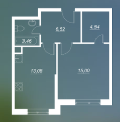 ЖК «Люблинский», планировка 1-комнатной квартиры, 42.70 м²