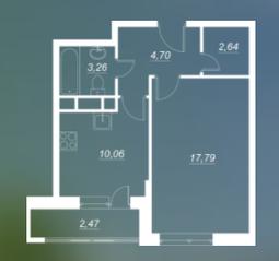 ЖК «Люблинский», планировка 1-комнатной квартиры, 38.45 м²