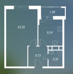 ЖК «Люблинский», планировка 1-комнатной квартиры, 41.64 м²