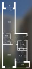 ЖК «Люблинский», планировка 2-комнатной квартиры, 53.28 м²